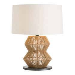 """Arteriors - Arteriors  - Seasal Table Lamp -  DK49955-207 - Arteriors matches a fresh approach to design with handmade artistry and top-notch craftsmanship. The Seasal lamp lends the transitional living room a relaxed, coastal-inspired vibe. Wrapping a metal frame, natural sisal twine forms a sculptural presence around the textured light fixture. An ivory linen drum shade Features: hand-rolled edges for a soft, neutral complement. Accepts 150W max bulb (not included). Features: Seasal Collection Table LampRound ShapeHandmade artistry and top-notch craftsmanshipSeasal lamp lends the transitional living room a relaxedWrapping a metal frameNatural sisal twine forms a sculptural presence aroundIvory linen drum shade Features: hand-rolled edges for a softNeutral complementTable lamp accepts 150W max bulb Some Assembly Required.Dimensions: 22"""" Diameter x 28""""HCord: 8'L"""