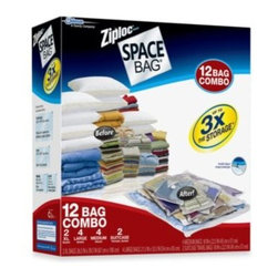 Space Bag - Ziploc Space Bag Super 12-Piece Combo Set - Space Bag uses a turbo vacuum seal valve and double zipper to store your clothes nice and compact. It's guaranteed to be air- and water-tight, and the new turbo valve vacuums out air 35% faster than other Space Bags.