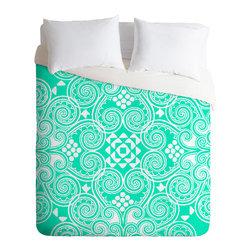 DENY Designs - Budi Kwan Decographic Mint Duvet Cover - Turn your basic, boring down comforter into the super stylish focal point of your bedroom. Our Luxe Duvet is made from a heavy-weight luxurious woven polyester with a 50% cotton/50% polyester cream bottom. It also includes a hidden zipper with interior corner ties to secure your comforter. it's comfy, fade-resistant, and custom printed for each and every customer.