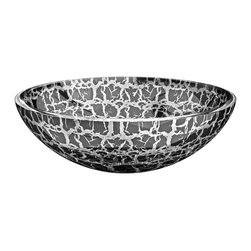 "Maestrobath - Atelier Kalahari European Bathroom Sink, Silver Black - Perfected by the ""Florence Glass Atelier"" project which allows for colors and textures to be embedded within the crystal, the ada compliant bathroom sink offers an exquisite texture on the interior and exterior of its round, bowl shape. This fancy vessel sink comes in dark and light shades and offers an elegant and contemporary design to your space."