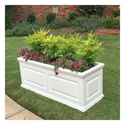 Commercial Planter (variety of styles) - Our Commercial Sized Planters are made from PVC with a matted finish that looks like wood. All of our PVC planters are considered an upgrade over vinyl and will NEVER be mistaken for shiny plastic. They can be painted or left unpainted with the standard white finish.