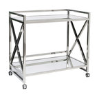 """Worlds Away - Worlds Away Polished Stainless """"X"""" Bar Cart with Mirrored Tops GERARD SS - Worlds Away Polished Stainless """"X"""" Bar Cart with Mirrored Tops GERARD SS"""