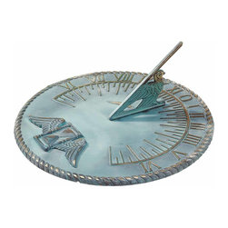Renovators Supply - Sundials Verdigris Solid Brass Sundial 10'' Brass Verdigris | 19417 - Verdigris sundial is made of solid brass- 1/4 inch thick. Sundial measures 10 inch in diameter.