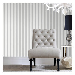 Graham & Brown - Ticking Stripe Wallpaper - A classic striped wallpaper in soft grey incorporates our classic Aaron texture. The small scale of this stripe gives it a very traditional feel but can equally be used in a more contemporary setting.