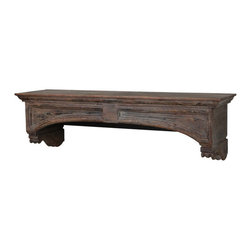 Uttermost - Uttermost 24802  Auden Fireplace Mantel - Built and trimmed in solid fir wood, the carved corbels and moldings in this timeless design show through worn away layers of charcoal, rust brown, and weathered gray.