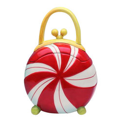 ATD - 8.75 Inch Peppermint Candy Purse Themed Cookie Jar with Handle Top - This gorgeous 8.75 Inch Peppermint Candy Purse Themed Cookie Jar with Handle Top has the finest details and highest quality you will find anywhere! 8.75 Inch Peppermint Candy Purse Themed Cookie Jar with Handle Top is truly remarkable.