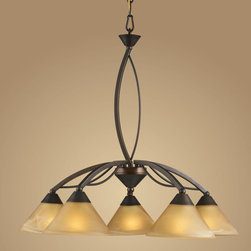 Elk Lighting - Elk Lighting-7646/5-Elysburg - Five Light Chandelier - The geometric lines of this collection offer harmonious symmetry with a sophisticated contemporary appeal.  A perfect complement for kitchens, billiard parlors, or any area that requires direct lighting.  Featured in Satin Nickel with white marbleized glass or Aged Bronze finish with tea stained brown swirl glass.