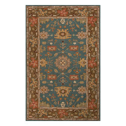 Jaipur Rugs - Hand-Tufted Durable Wool Blue/Brown Area Rug (5 x 8) - The Poeme Collection takes traditional designs and re-invents them in a palette of modern, highly livable colors. Each design is made from premiere hand-spun wool and crafted with precision for the look and feel of a hand-knotted rug, at the more affordable cost of a hand-tufted. Poeme will effortlessly coordinate individual design elements to finish any room.