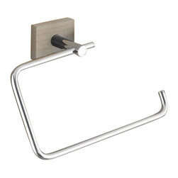 Gedy - Chrome Towel Ring with Washed Oak Wood Wall Mount - Need a towel hanger? This one is a contemporary & modern towel hanger that will fit perfectly into your contemporary bathroom.