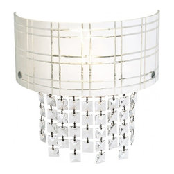 Access Lighting - Kalista 2-Light Wall Sconce with Crystal Drops - Contemporary 2-light wall sconce in chrome finish. Available in black or white glass