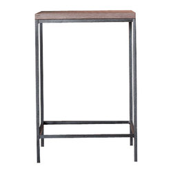 """kith&kin - Pequeno Side Table - Patchwork Walnut and Steel - Simple and stylish. Classic Modern design made with natural materials. Patchwork Black Walnut top. Raw Steel Base shown with clear finish. 14"""" wide x 20"""" deep x 21"""" high. Made to order. No two are exactly alike. Lead time is typically 4 wks."""