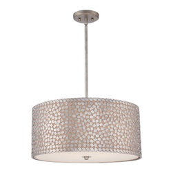 Quoizel - Quoizel CKCF2822OS Confetti Pendant Light - This collection features confettilike metal chips encompassing an inner offwhite linen shade.  The old silver finish and frosted diffuser completes the design of this funkychic series.  Confetti equals fun.