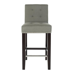 Home Decorators Collection - Autumn Counter Stool, Gray With Nailhead - When comfort matters, your best bet is always an upholstered seat. This tufted counter stool comes in three subtle hues to work in any home — and its nailhead detail is just an added bonus!