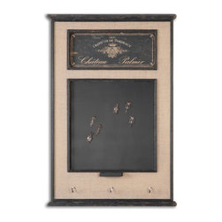 Uttermost - Uttermost Chateau Palmer Chalkboard 10510 - Chalkboard is surrounded by a frame featuring burlap linen fabric accented with distressed aged black details. Six corkscrew magnets, chalk holder and three hanging hooks are included.