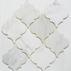 Mission Stone Tile - Stone Arabesque Marble Tile Mosaic, Honed, Sample - Arabesque Tile | Oriental White Marble  Honed Sample