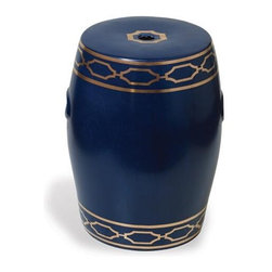 Port 68 - Port 68 Pavillion Garden Stool, Navy - This navy blue and gold combination is very nautical, making it an ideal piece for an upscale beach or waterfront home.
