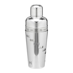 Kraftware - 32 oz. Recipe Cocktail Shaker - Made from polished stainless steel. 6 in. W x 6 in. D x 12 in. H (1 lbs.)