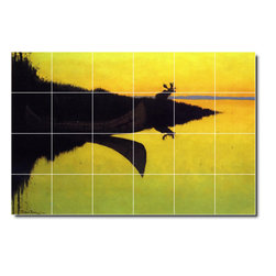 Picture-Tiles, LLC - Comming To The Call Tile Mural By Frederic Remington - * MURAL SIZE: 48x72 inch tile mural using (24) 12x12 ceramic tiles-satin finish.