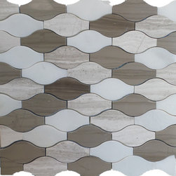 "GL Stone - Wave Pattern Marble Mosaic Tiles 12""x12"", Mix Wooden Grey and White and Dark Bro - Mix Color Marble Tile Its stunning design and unique pattern will bring warmth and a natural ambiance to your interior decor. The mesh backing not only simplifies installation, it also allows the tiles to be separated which adds to their design flexibility. Each sheet measures 12.00"" x 11.50""  (0.96 sq. ft.) This marble wall & floor tiles are perfect for any interior or exterior projects such as kitchen backsplash, bathroom flooring, shower surround, countertop, dining room, entryway, etc."