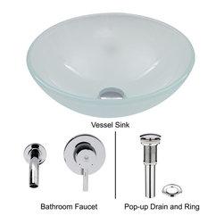 Vigo - Vigo White Frost Vessel Sink and Wall Mount Faucet Set, Chrome (VGT272) - Vigo VGT272 White Frost Vessel Sink and Wall Mount Faucet Set, Chrome
