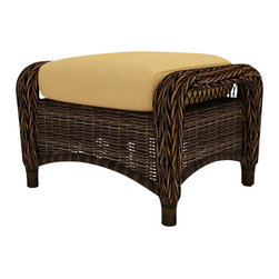 Forever Patio - Leona Wicker Patio Ottoman, Canvas Wheat Cushion - The Forever Patio Leona Patio Wicker Ottoman with Gold Sunbrella cushions (SKU FP-LEO-OT-MC-CW) is the perfect addition to any piece from the Leona seating collection, either as a footrest or as an extra seat. The mocha-colored wicker is UV-protected, and features two tones that give it a more natural, traditional look. Each strand of this outdoor wicker is made from High-Density Polyethylene (HDPE) and is infused with its rich color and UV-inhibitors that prevent cracking, chipping and fading ordinarily caused by sunlight. This outdoor wicker ottoman is supported by thick-gauged, powder-coated aluminum frames that make it more durable than natural rattan. This chair includes a fade- and mildew-resistant Sunbrella cushion, adding comfort to your outdoor space.