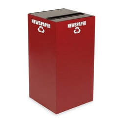 Witt Industries Geo Cubes 28 Gallon Scarlet Recycling Bin - Make recycling easy with the Witt Industries Geo Cubes 28 Gallon Scarlett Recycling Bin. The scarlet color is both stylish and bold making it easy to spot. This recycling bin comes with a lid to accommodate whatever you have in mind. Simply choose the lid that will work with your recyclables. All tops include clearly marked decals to keep other items from being thrown in and getting mixed up with the recyclables. Compact and fire safe steel construction makes this bin durable and long lasting. The bin holds up to 28 gallons and measures 15L x 15W x 28H.About Witt IndustriesWith its rich and established history in the steel waste receptacle manufacturing industry that dates back to 1887 Witt Industries has been in the forefront with its innovation quality and service. The company's founder George Witt invented and patented the first corrugated galvanized ash can and lid back in 1889 and the company has never looked back. Today Witt Industries is part of the Armor Metal Group and is a woman-owned business.
