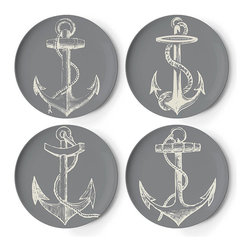 Frontgate - Set of Four Maritime Coasters - Melamine is shatterproof and ideal for outdoor entertaining. Dishwasher safe. Do not use in the microwave, or place on direct heat. Not recommended for use with sharp knives. Our Maritime Melamine Dinnerware by thomaspaul takes casual tableware in a new direction. A fun mix of nautical designs, this durable collection is perfect for an alfresco party, and stylish enough to use indoors as well.. . . .