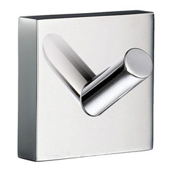 Smedbo - House Single Towel Hook in Polished Chrome Finish - Concealed fastening. 1.75 in. W x 1.75 in. H