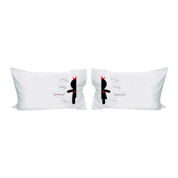 """Contemporary Cotton Pillowcase - Set of 2 - """"What our friends say about us is true. You complete me and I complete you. When we're together the world can see how much love is shared between you and me. We're meant to be together from the very start. From the first time I met you, I never wanted to be apart."""""""