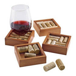 Wine Cork Coaster Kit, Walnut - These coasters would be a fantastic gift for the wine lover you know. Collect corks from your favorite bottles and display them in these shadowbox coasters. They're functional but also act as a scrapbook of sorts at the same time.