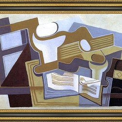 """Art MegaMart - Juan Gris Guitar and Fruit Dish - 18"""" x 27"""" Framed Premium Canvas Print - 18"""" x 27"""" Juan Gris Guitar and Fruit Dish framed premium canvas print reproduced to meet museum quality standards. Our Museum quality canvas prints are produced using high-precision print technology for a more accurate reproduction printed on high quality canvas with fade-resistant, archival inks. Our progressive business model allows us to offer works of art to you at the best wholesale pricing, significantly less than art gallery prices, affordable to all. This artwork is hand stretched onto wooden stretcher bars, then mounted into our 3 3/4"""" wide gold finish frame with black panel by one of our expert framers. Our framed canvas print comes with hardware, ready to hang on your wall.  We present a comprehensive collection of exceptional canvas art reproductions by Juan Gris."""