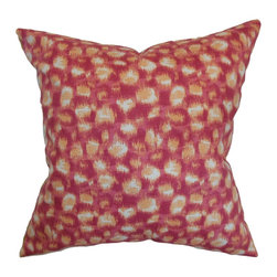 """The Pillow Collection - Imperatriz Geometric Pillow Azalea - Decorate your room with a fancy square pillow. This accent pillow comes with a catchy print pattern in shades of pink, orange and white. This gorgeous decor pillow is perfect for your sofa, couch, seat or bed. Mix and match this 18"""" pillow with solids and patterns, which complements this throw pillow. Made from 55% cotton and 45% linen fabric. Hidden zipper closure for easy cover removal.  Knife edge finish on all four sides.  Reversible pillow with the same fabric on the back side.  Spot cleaning suggested."""