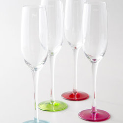 """kate spade new york - kate spade new york Four """"Say the Word"""" Flutes - Four crystal flutes with hand-painted bases add a touch of merriment to your celebration: each is etched with a different celebratory word. From kate spade new york. Pink flute: """"Clink""""; Blue flute: """"Fizz""""; Green flute: """"Cheers""""; and Red-Orange flute:...."""