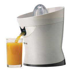 "TRIBEST CORP. - Tribest CitriStar CS-1000 Citrus Juicer, 8.7"" x 5.9"" x 5.9"" - Tribest CitriStar CS-1000 Citrus Juicer is quiet but powerful citrus juicer which extracts extremely beneficial juice with minimal time and effort. Its unique, high-clearance stainless-steel spout prevents clogging and ensures continuous operation while the powerful motor makes quick work of favorite citrus fruits. This juicer features sloped juice collector which maximizes juice flow and eliminate clogs."