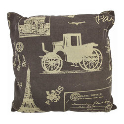 Zeckos - Vintage Paris Postcard Collage Brown Burlap Throw Pillow 16 In. - Add a French accent to your worldly home decor with this decorative throw pillow. It features a collage of tan colored Parisian postcard images on a brown background. The pillow measures 16 inches tall, 16 inches wide, has a removable burlap cover and 100% cotton padding inside. This pillow looks great on beds, chairs, and couches anywhere in your home, and the neutral colors are sure to complement almost any decor.