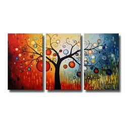 None - 'Life Tree V' Oil Paint 3-piece Hand Painted Canvas Art Set - Add colorful whimsy to your walls with this three-piece tree canvas art. This oversized canvas art depicts a tree with vibrant multicolored ornaments against a color-shifting background. This contemporary painting arrives gallery wrapped on canvas.