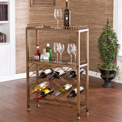 Upton Home - Asturias Wine Storage Bar - This wine storage bar offers an open storage rack for up to 25 bottles of wine. Add this wine bar to your dining room, kitchen, or family room. The antique finish and scrolling pattern work well in transitional to contemporary homes.