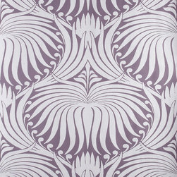Lotus BP 2062 Wallpaper - The very dramatic Lotus wallpaper by Farrow & Ball in a purple colorway would be amazing in a dining room.