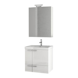 ACF - 23 Inch Glossy White Bathroom Vanity Set - Made in engineered wood and mirrored glass and ceramic and finished in glossy white. This wall mount rectangle bathroom vanity (part of the ACF New Space collection) is great for your contemporary personal bathroom. Designed and built in Italy by ACF. Set