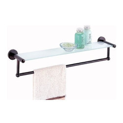 Organize It All - Oil Rubbed Glass Shelf with Towel Bar - Our easy to mount on the wall to provide you with more counter space. Add a touch of glam to your bathroom or any other room in your home. Also perfect for displaying your collection of gorgeous perfume bottles.