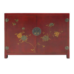 Golden Lotus - Red Color Peony Flowers Graphic Leather Surface Cabinet Side Table - You are looking at a unique oriental red color cabinet. There is a thin layer of artificial leather over wood and it has peony flowers graphic on the front and sides. This cabinet is separated by two removable shelves.