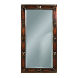 Bassett Mirror Co - Bassett Mirror Co M2547BEC Fouquet Tea CartBancroft Collection - The Leaning Wall Mirror features a beveled-glass mirror set within a rectangular wood frame with a beautiful, antiqued copper finish. Carved medallions accent each side on this large-scale piece.