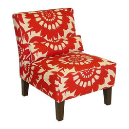 Skyline Furniture - Gerber Accent Chair in Crimson - Pillow adds extra lumbar support for those with back trouble. Polyurethane foam fill. 100% cotton upholstery. Made from premier solid wood. Made in USA. Assembly required. 32 in. W x 25 in. D x 33 in. H (32 lbs.)