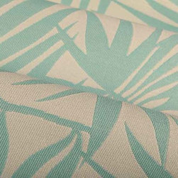 Palm Frond Outdoor Upholstery Fabric in Sky Blue - Palm Frond Outdoor Upholstery Fabric in Sky Blue has a tropical pattern perfect for the patio or a themed interior design. Durable and ready for high traffic, this American made 100% High UV Polyester has a width of 54″ and a repeat of 16″ X 16″
