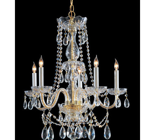 Crystorama Lighting Group - Traditional Polished Brass Five-Light Hand Cut Crystal Chandelier - - Traditional crystal chandeliers are classic, timeless, and elegant. Crystorama's opulent glass arm chandeliers are nothing short of spectacular. This collection is offered in a variety of crystal grades to fit any budget. For a touch of class, order this collection in Gold for traditionalists or in Chrome to match your contemporary or transitional decor. Crystorama Lighting Group - 1125-PB-CL-MWP