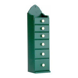 "Renovators Supply - Spice Chests Green Hardwood 6 Drawer Spice Chest 16 3/8in.H | 18250 - Spice Keeper. The Shakers gathered herbs from the kitchen garden- dried them- and put them in a ""keeper"" for easy access for a pinch of this and a dash of that. Use our hardwood organizer on a wall or counter for spices or small items. Six graduated drawers 1 in. to 2 in. deep. Our customers who have ordered these love them- and you will too! Measures 16 3/8 in. H x 4 1/8 in. W x 4 in. proj."