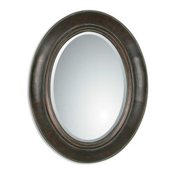 "Verdigris Oval Beveled Mirror Tivona - *This handsome oval mirror features a distressed dark chestnut finish over a genuine copper panel with a light verdigris glaze.  Mirror features a generous 1 1/4"" bevel. Matching console table is item #26051."