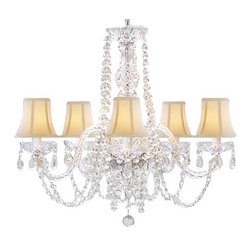 The Gallery - Crystal chandelier Lighting with White Shades - Indulge a fantasy of illumination. You'll bring sparkle and splendor to your decor with this crystal chandelier, adorned with dainty white shades.