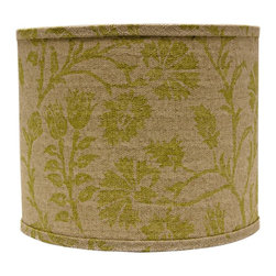 """Lamps Plus - Country - Cottage Muted Green Floral Drum Lamp Shade 12x12x10 (Spider) - A chic and stylish drum lamp shade featuring a muted green floral design. A chrome spider fitter tops the look. The correct size harp is included. Drum lamp shade. Soft green floral design. Hardback shade design. Chrome spider fitter. Cotton material. Unlined. 1/2"""" fitter drop. 12"""" across the top and bottom. 10"""" high. Made in USA.  Drum lamp shade.  Soft green floral design.  Hardback shade design.  Chrome spider fitter.  Cotton material.  Unlined.  Made in USA.  1/2"""" fitter drop.  12"""" across the top and bottom.  10"""" high."""