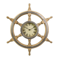 IMAX CORPORATION - Wood Ship Wheel Clock - Handsome ship wheel clock with a rustic finish. Find home furnishings, decor, and accessories from Posh Urban Furnishings. Beautiful, stylish furniture and decor that will brighten your home instantly. Shop modern, traditional, vintage, and world designs.